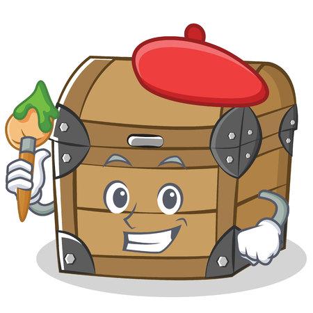 Artist chest character cartoon style illustration.