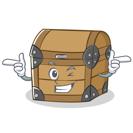 Wink chest character cartoon style vector illustration