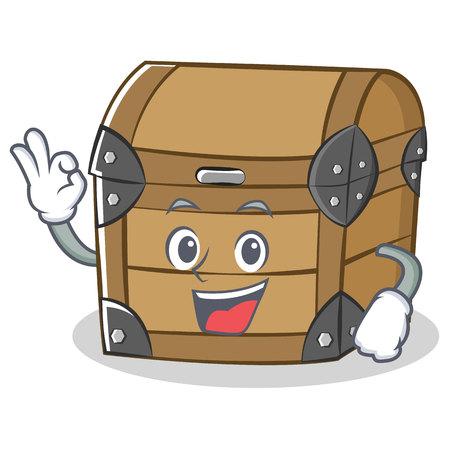 Okay chest character cartoon style vector illustration