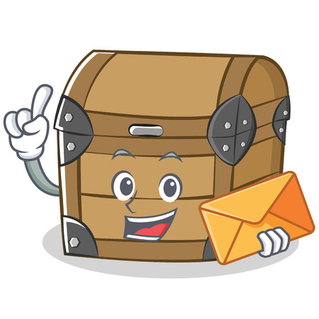 With envelope chest character cartoon style vector illustration