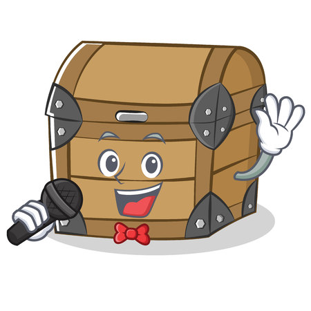 Singing chest character cartoon style Illustration