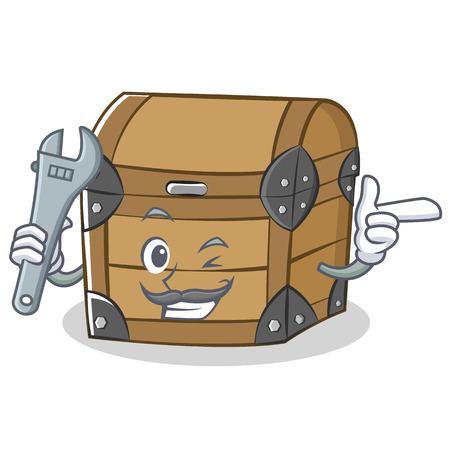 Mechanic chest character cartoon style vector illustration