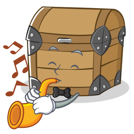 With trumpet chest character cartoon style