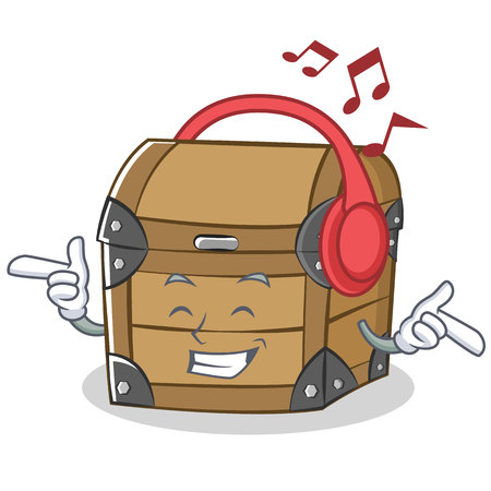 Listening music chest character cartoon style