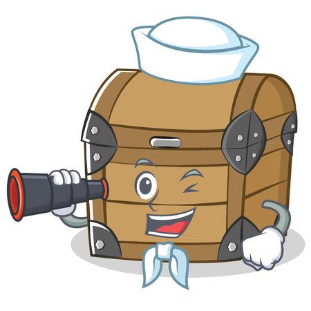Sailor with binocular chest character cartoon style