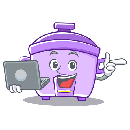 modern kitchen: With laptop rice cooker character cartoon vector
