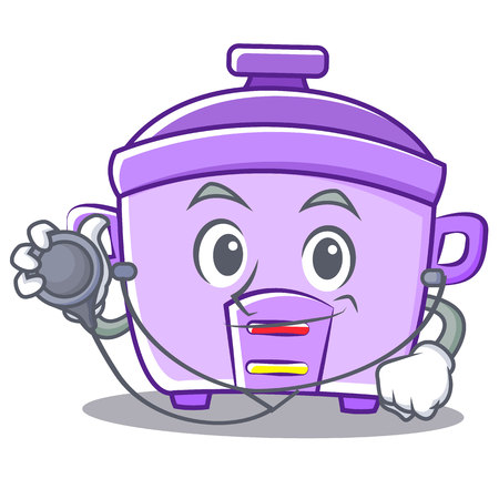 Doctor rice cooker character cartoon vector illustration