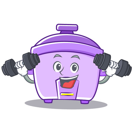 kitchen appliances: Fitness rice cooker character cartoon Illustration