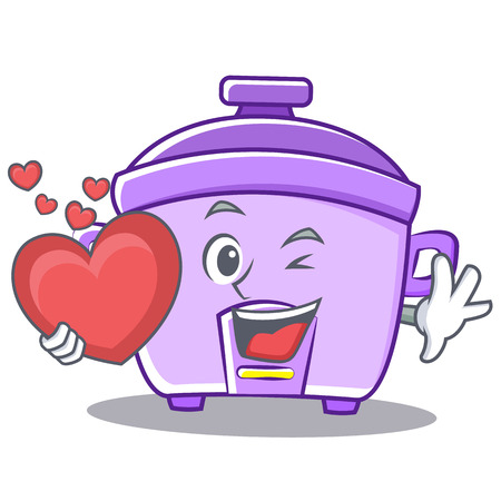modern kitchen: With heart rice cooker character cartoon vector illustration