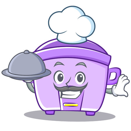 modern kitchen: Chef with food rice cooker character cartoon vector illustration Illustration