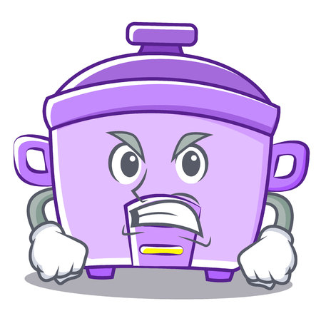 modern kitchen: Angry rice cooker character cartoon vector illustration
