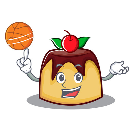 Playing basketball pudding character cartoon style