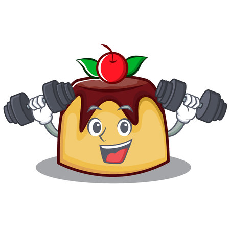 Fitness pudding character cartoon style vector illustration Illustration