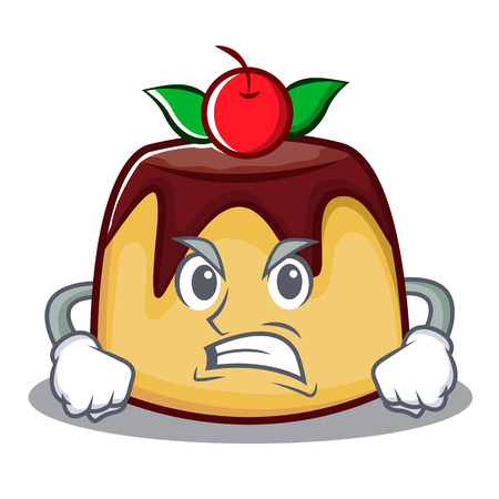 Angry pudding character cartoon style vector illustration
