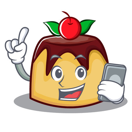 With phone pudding character cartoon style vector illustration