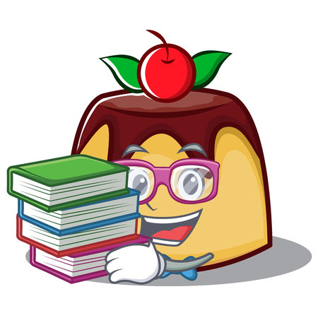 Student with book pudding character cartoon style illustration. Illustration