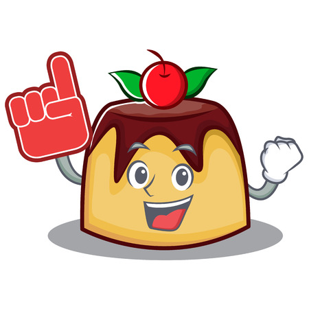 Foam finger pudding character cartoon style vector illustration
