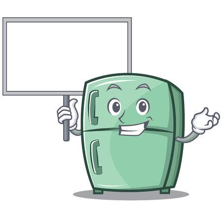 Bring board cute refrigerator character cartoon vector illustration Çizim