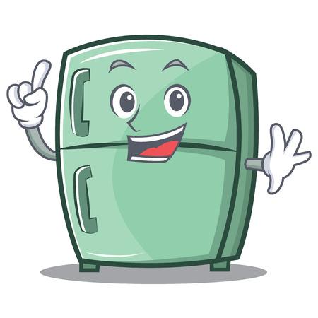 Finger cute refrigerator character cartoon Illustration