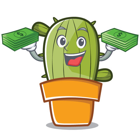 With money cute cactus character cartoon