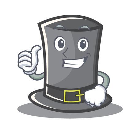 belt up: Thumbs up Thanksgiving hat character cartoon vector illustration.