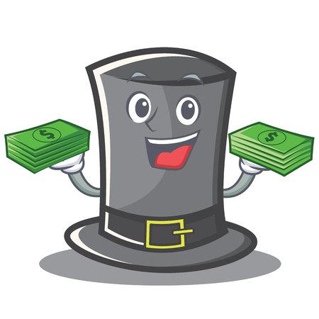 Con dibujos animados de personaje de sombrero de acción de Gracias de dinero