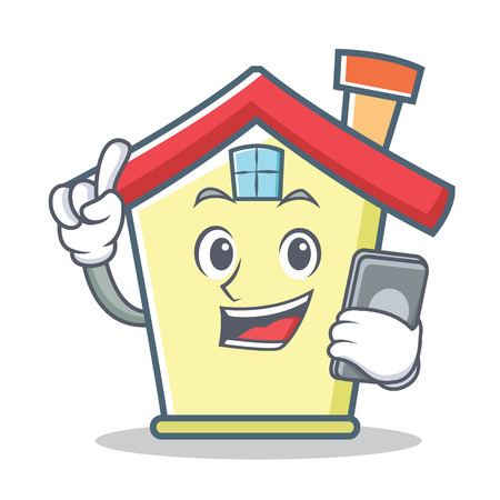 With phone house character cartoon style