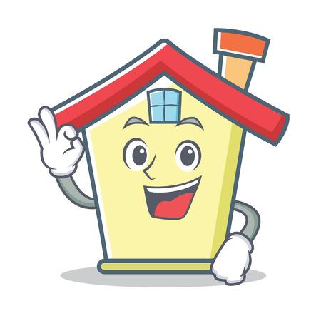 Okay house character cartoon style Illustration