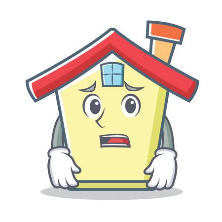 Afraid house character cartoon style vector illustration Illustration