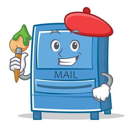 Artist mailbox character cartoon style vector illustration