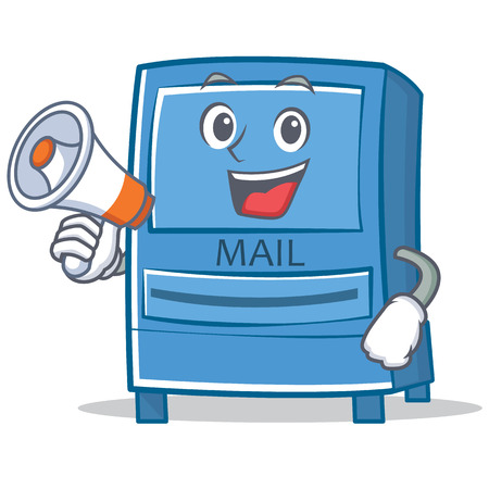With megaphone mailbox character cartoon style