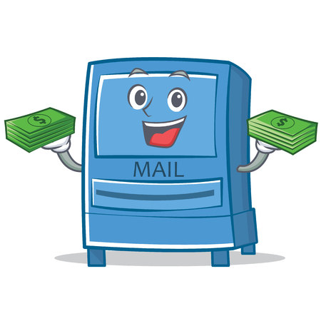 With money mailbox character cartoon style