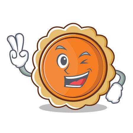 Two finger pumpkin pie character cartoon vector illustration