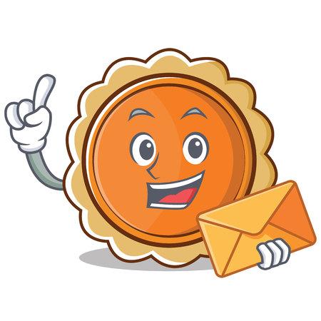 With envelope pumpkin pie character cartoon vector illustration