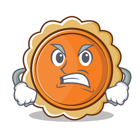 Angry pumpkin pie character cartoon Illustration