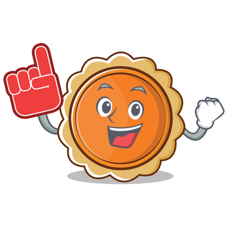 Foam finger pumpkin pie character cartoon vector illustration