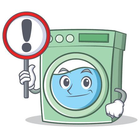 With sign washing machine character cartoon vector illustration Vektorové ilustrace