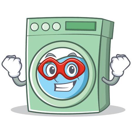 Super hero washing machine character cartoon vector illustration.