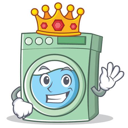 Roi machine à laver personnage dessin animé vector illustration
