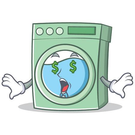 Money eye washing machine character cartoon vector illustration