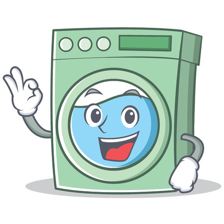Okay washing machine character cartoon vector illustration