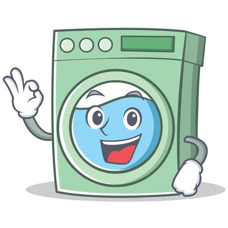 Oke wasmachine karakter cartoon vectorillustratie
