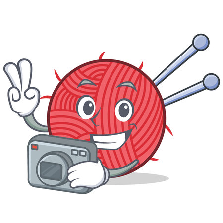 A Photography knitting character cartoon style vector illustration.