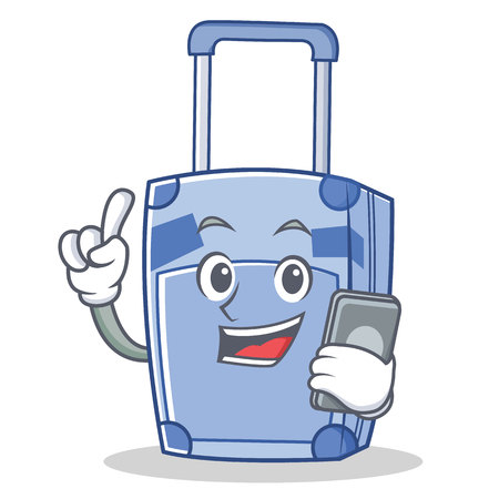With phone suitcase character cartoon style vector illustration