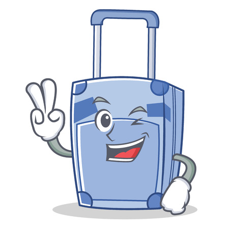 hint: Two finger suitcase character cartoon style vector illustration Illustration