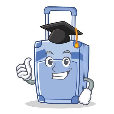 Graduation suitcase character cartoon style vector illustration
