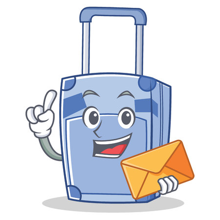 hint: With envelope suitcase character cartoon style Illustration