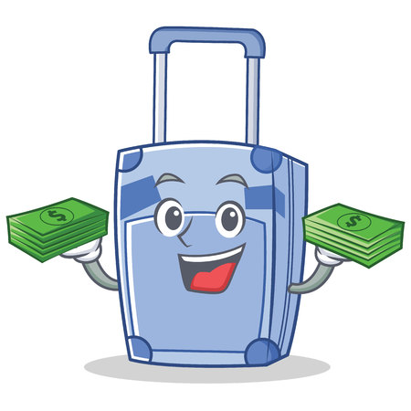 With money suitcase character cartoon style vector illustration
