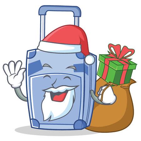 Santa suitcase character cartoon style vector illustration