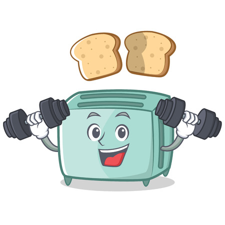 fitness equipment: Fitness toaster character cartoon style Illustration